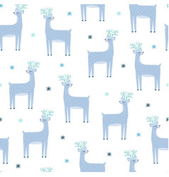 cute reindeer seamless pattern north pole vector image