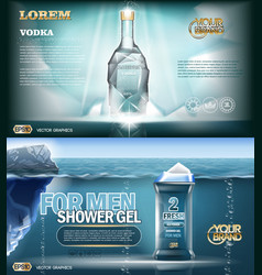 Digital aqua silver vodka bottle mockup vector