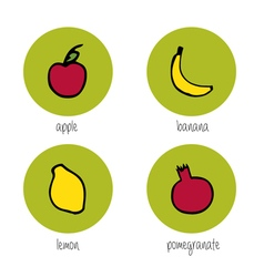 Doodle fruits vector image