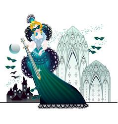 Fairyland queen in fantasy medieval kingdom book vector