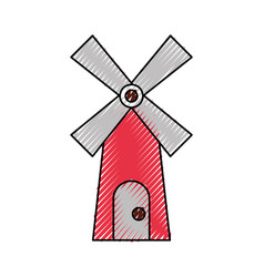Farm windmill isolated icon vector