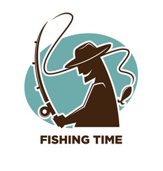 Fishing time icon for fisherman club or fishery vector