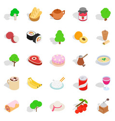 Food on the street icons set isometric style vector
