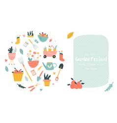 garden festival invitation with gardening tools vector image