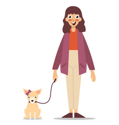girl with a dog vector image