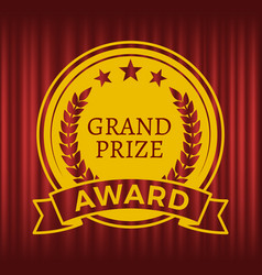 grand prize award with gold stars red curtain vector image