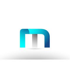 Grey blue alphabet letter m logo 3d design vector