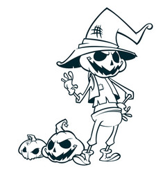 halloween pumpkin head scarecrow outlines vector image