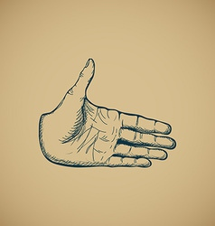 Hand draw sketch of vintage style hand vector image