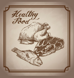Hand drawn chicken fish beef healthy food products vector