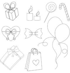Happy birthday elements line set vector image