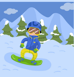 happy boy snowboarding in the mountains in winter vector image
