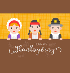 happy thanksgiving background with pilgrim and vector image