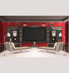 Home cinema interior with red walls vector