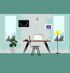 interior in loft space with white vintage brick vector image vector image
