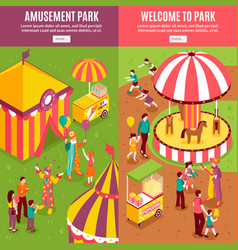 Isometric amusement park banners vector