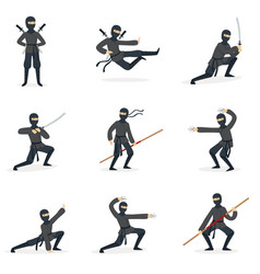 japanese ninja assassin in full black costume vector image