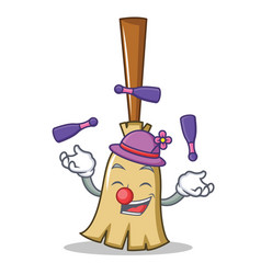 juggling broom character cartoon style vector image
