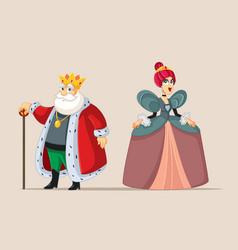 king and queen cartoon royal couple vector image