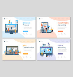 Landing pages design business creative website vector