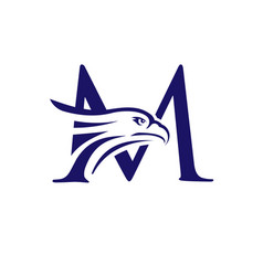 letter m and eagle head vector image