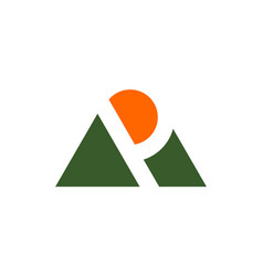Letter p mountain sunrise logo icon vector