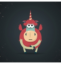 Magic little mythical unicorn with a spiral horn vector