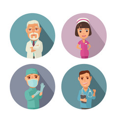 Male female doctor character set icon vector