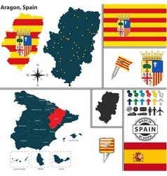Map of Aragon vector