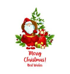 Merry christmas santa greeting icon vector