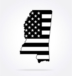 mississippi ms state shape with usa flag vector image