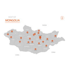 Mongolia map with administrative divisions vector