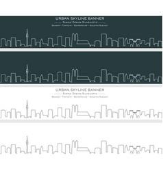 Munich single line skyline banner vector