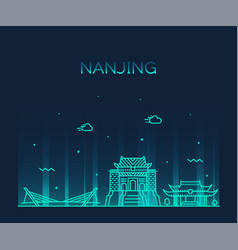 nanjing skyline jiangsu china city linear vector image