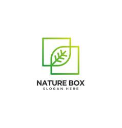 Nature box logo design template vector