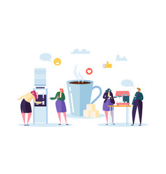Office lunch time business people characters vector