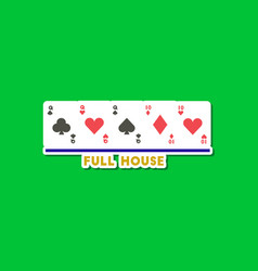 Paper sticker on stylish background poker full vector