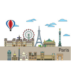paris colorful line art 2 vector image