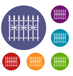 Park fence icons set vector