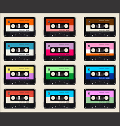 pattern with old audio cassettes colorful vector image