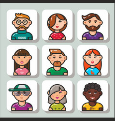 people face icons 1 vector image