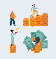 pile money stacked coin and people vector image