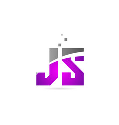 Pink grey alphabet letter combination js j s for vector