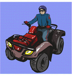 Pop art of man riding quad vector