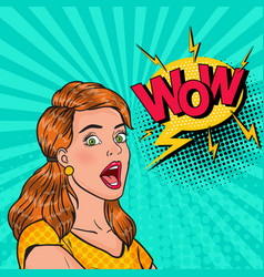 Pop art surprised girl with open mouth vector