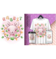 Pretty rabbit - poster and merchandising vector
