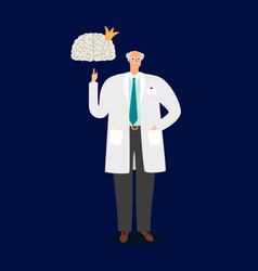 professor doctor and human brain vector image