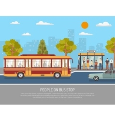 Public Transport Bus Service Flat Poster vector