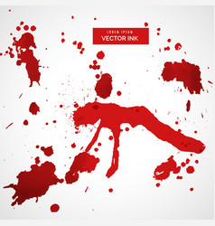 Red blood stain splatter set vector