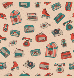 Retro seamless pattern with antique tech vector